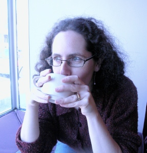 Miriam with a mug of cocoa