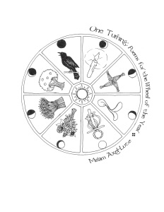 A circle with the sun in the center is divided into 8 slices with phases of the moon and symbols of the related holiday in each--a candle, a Brigid's cross, a sprout, a may crown, a bunch of sunflowers, a sheaf of wheat, an apple tree, and a crow.